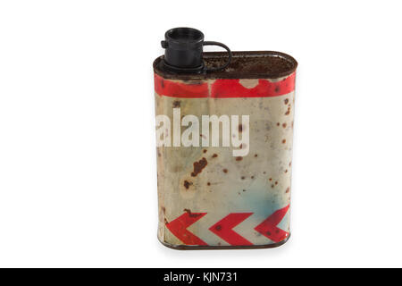 Old weathered tin can isolated on white background - Stock Photo