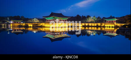 Photo of the the walls and Donggung Palace at blue hour time - Stock Photo