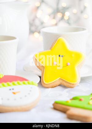 Decorated Christmas gingebread cookies. - Stock Photo