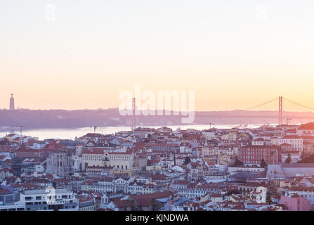 LISBON, PORTUGAL - NOVEMBER 19, 2017: The cityscape of Lisbon, Portugal, by night, shortly after sunset on a November - Stock Photo