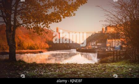 Clifton Suspension Bridge at sunrise in the autumn, Bristol, UK - Stock Photo