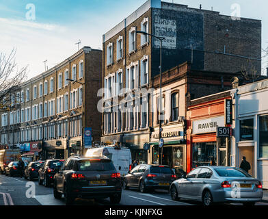 London, UK - November 22nd, 2017: Traffic jam in busy commercial Earl's Court Road in London, UK - Stock Photo