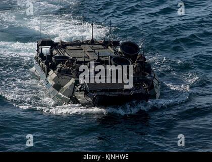 An amphibious assault vehicle approaches the well deck of the dock landing ship USS Oak Hill (LSD - Stock Photo
