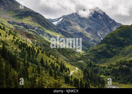View up the Moostal Valley to Alschnerspitze mountain, St Anton, Austria - Stock Photo