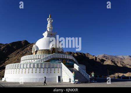 Shanti Stupa in Leh, Ladakh, Jammu and Kashmir, India. - Stock Photo