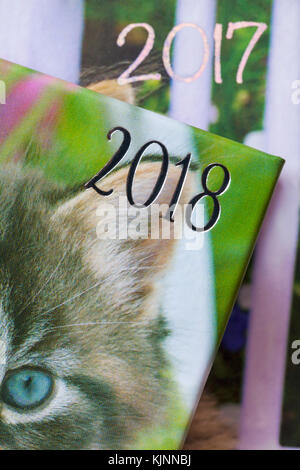 years showing on 2018 and 2017 diaries with 2018 in front and 2017 behind - concept moving into 2018 and leaving - Stock Photo