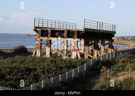 Remaining part of the old Loughor rail bridge that was replaced in 2013 - Stock Photo