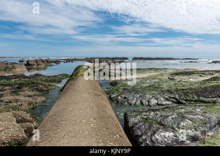 Old sewer collector on Les Sables d'Olonne beach  (Vendee, France) - Stock Photo