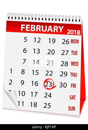 icon in the form of a calendar for 23 February 2018 - Stock Photo