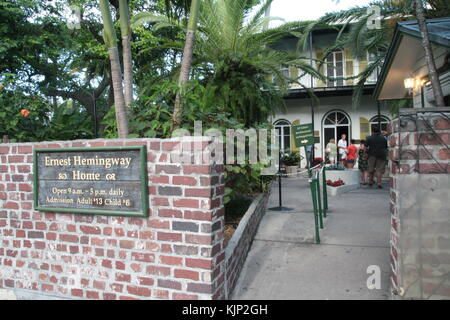 Ernest Hemingway house entrance in Key West, Florida. - Stock Photo