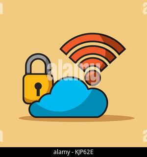 cloud security data internet connection storage - Stock Photo
