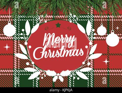 Red and green checkered pattern background with Merry Christmas word and decoration - Stock Photo