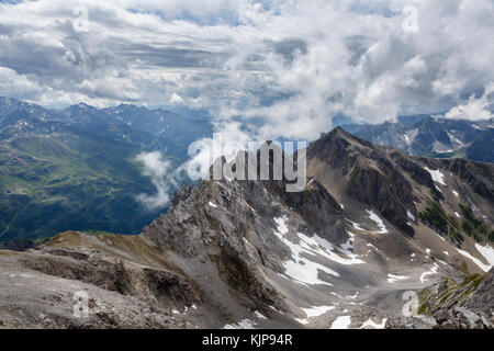 View from Valluga summit, St Anton am Arlberg, Austria - Stock Photo