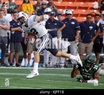 November 25, 2017 - Brigham Young Cougars running back Austin Kafentzis #2 in action between the Brigham Young Cougars - Stock Photo