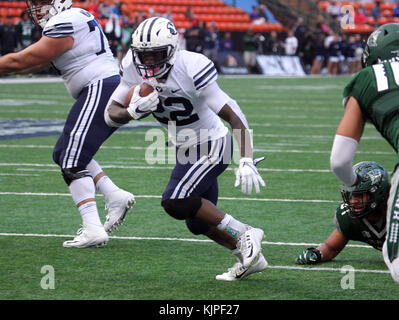November 25, 2017 - Brigham Young Cougars running back Squally Canada #22 rushes for his second touchdown in action - Stock Photo