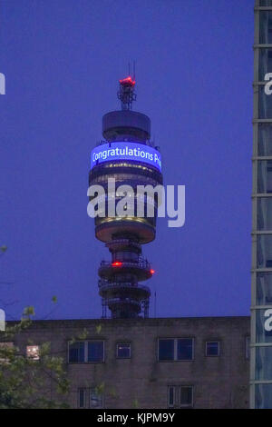 London, UK. 27th Nov, 2017. The BT Tower (previously the Post Office Tower) in London offers its congratulations - Stock Photo