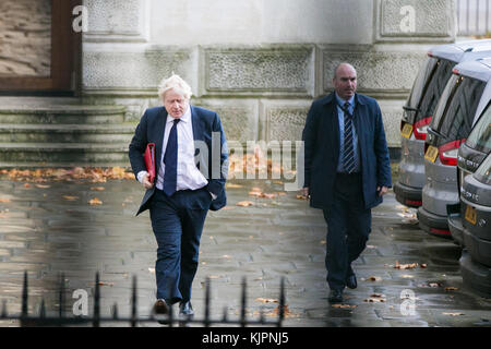 Downing Street. London, UK. 28th Nov, 2017. Boris Johnson, Secretary of State for Foreign and Commonwealth Affairs - Stock Photo