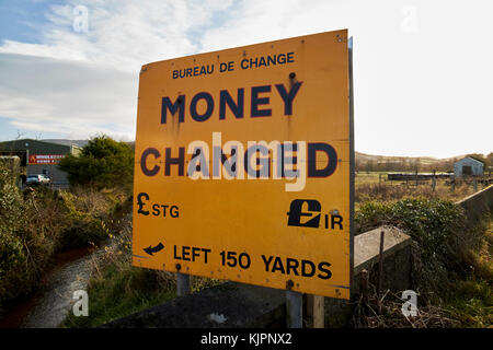 old money changed sign on the irish border between Northern Ireland and Republic of Ireland soon to be the UK EU - Stock Photo