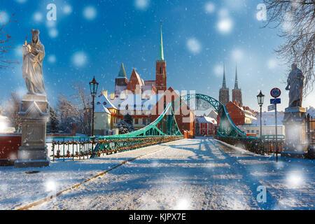 Tumski Bridge in snowy winter day, Wroclaw, Poland - Stock Photo