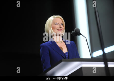 CLEVELAND, OH - JULY 20: Guest speaks on the third day of the Republican National Convention on July 20, 2016 at - Stock Photo