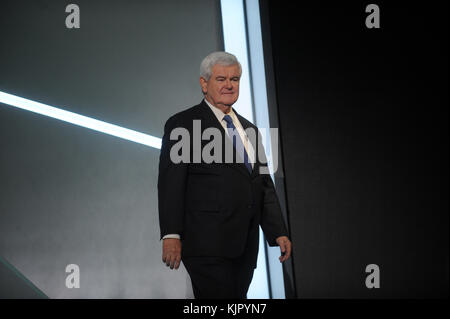 CLEVELAND, OH - JULY 20: Newt Gingrich speaks on the third day of the Republican National Convention on July 20, - Stock Photo