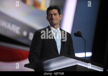 CLEVELAND, OH - JULY 20: Paul Ryan speaks on the third day of the Republican National Convention on July 20, 2016 - Stock Photo