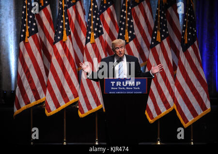 NEW YORK, NY - JULY 16: Donald Trump introduces Indiana Gov. Mike Pence as Vice Presidential running mate at a press - Stock Photo