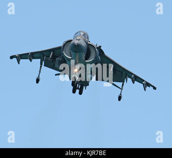 FORT LAUDERDALE, FLORIDA - MAY 07:  U.S. Marine Corps AV-8B Harrier Demo at the Fort Lauderdale Air Show on May 7, 2016 in Fort Lauderdale, Florida.    People:  U.S. Marine Corps AV-8B Harrier Stock Photo