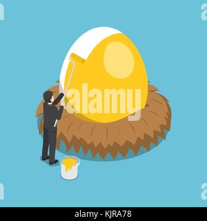 Flat 3d isometric businessman painting golden color on the egg. Financial  and investment concept. - Stock Photo