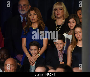 MIAMI, FL - APRIL 13: U.S. Sen. Marco Rubio (R-FL) stands with his wife, Jeanette Rubio, and children after announcing - Stock Photo