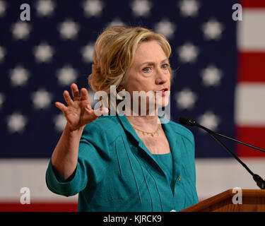 MIAMI FL JULY 31:  Former First Lady and Secretary Of State Hillary Rodham Clinton speaks during an event to get - Stock Photo
