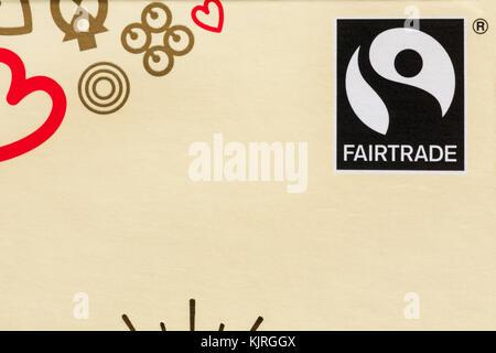 Fairtrade logo on packet of chocolates - Fairtrade logo symbol Fair Trade - Stock Photo
