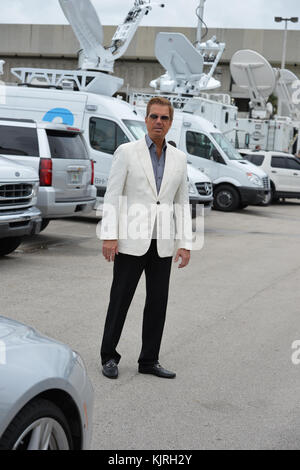 MIAMI, FL - JUNE 15: (EXCLUSIVE COVERAGE) Singers Willy Chirino, and wife Lissette outside the event that Former - Stock Photo