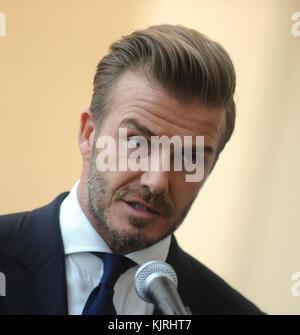 NEW YORK, NY - SEPTEMBER 24:  UNICEF Goodwill Ambassador David Beckham listen as United Nations Secretary-General - Stock Photo
