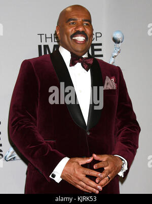 LOS ANGELES, CA - FEBRUARY 01: Steve Harvey poses in the press room at the 44th NAACP Image Awards at the Shrine - Stock Photo