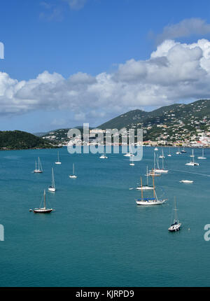 Charlotte Amalie, US Virgin Islands with boats and coastline - Stock Photo