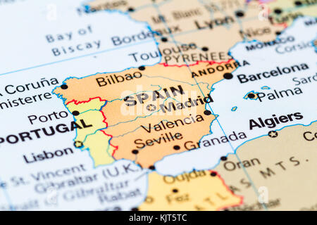 Close up of a world map with Spain in focus - Stock Photo
