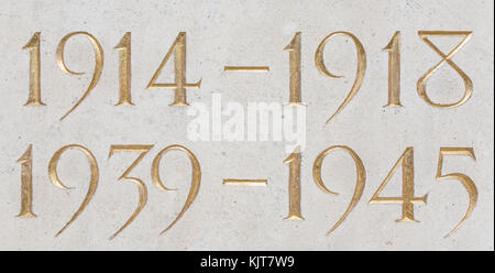 Golden inscription of the years of the two world wars: 1914-1918, 1939-1945 - Stock Photo