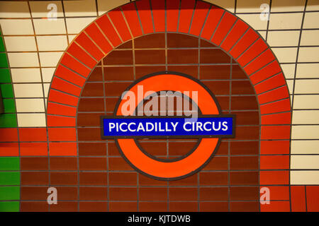 Underground Piccadilly Circus tube station in London on February 2017. The London Underground is the oldest underground - Stock Photo