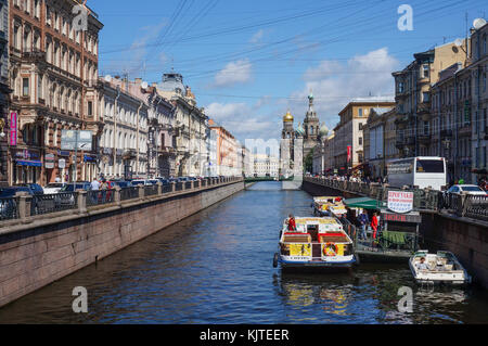 Saint Petersburg, Russia - 19.07.2015: View towards the Church of our Savior on Spilled Blood from Nevsky Prospekt - Stock Photo