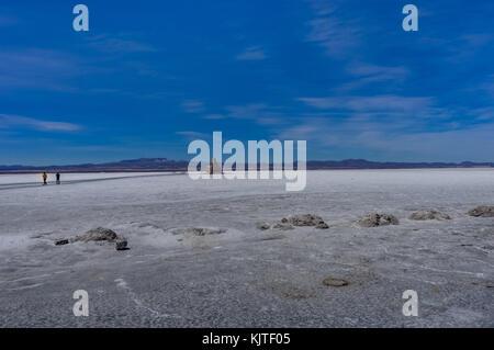 Photo taken in August 2017 in Uyuni Bolivia, South America: Salt Flats in Salar de Uyuni Desert Bolivia. Salar de - Stock Photo