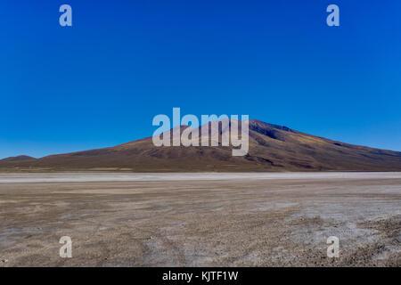 Photo taken in August 2017 in Altiplano Bolivia, South America: View Across Altiplano Peru desert Salar de Uyuni - Stock Photo