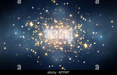 glowing fire sparkles in darkness - Stock Photo