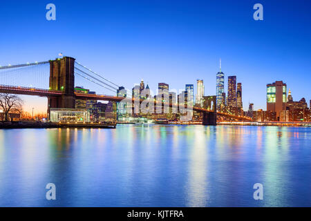 New York skyline New York City Brooklyn Bridge One WTC World Trade Center - Stock Photo