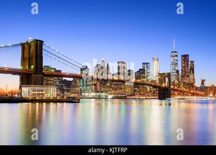 New York Skyline New York City Lower Manhattan - Stock Photo