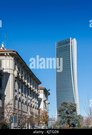 Italy, Lombardy, Milan, Skyline - Hadid Tower called Lo Storto with traditional architecture on left foreground - Stock Photo