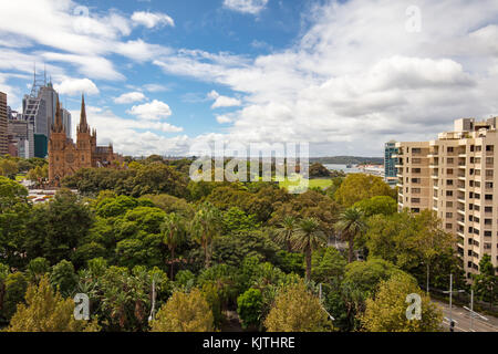Sydney, Australia - 7 March: A view over Hyde Park towards Sydney CBD on 7th March 2017. - Stock Photo