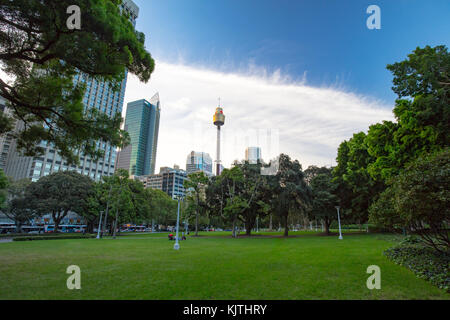 Sydney, Australia - 7 March: A view over Hyde Park towards Sydney CBD on 7th March 2017. - Stock Photo