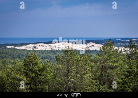 Strict protection area of Slowinski National Park on the Baltic coast in Pomeranian Voivodeship, Poland - view from - Stock Photo
