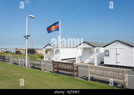 Beach huts by The Deal Memorial Bandstand, The Strand, Walmer, Deal, Kent, England, United Kingdom - Stock Photo